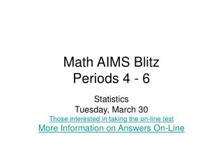Math AIMS Blitz Periods 4 - 6