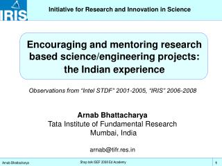 Initiative for Research and Innovation in Science