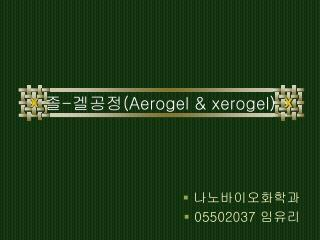졸 - 겔공정 (Aerogel & xerogel)