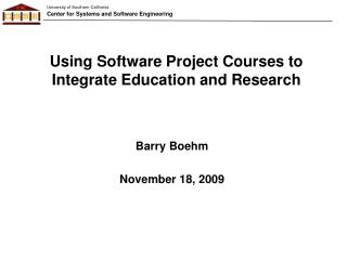 Using Software Project Courses to Integrate Education and Research