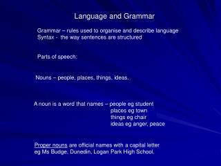 Language and Grammar