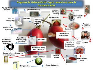 Diagrama de elaboración de  Yogurt  natural  con Jalea  de  Tomate  de  Árbol
