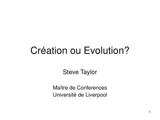 Cr ation ou Evolution