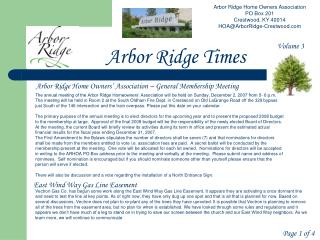 Arbor Ridge Home Owners Association PO Box 201 Crestwood, KY 40014 HOA@ArborRidge-Crestwood