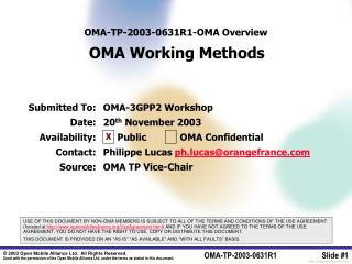 OMA-TP-2003-0 631R1 - OMA Overview OMA Working Methods