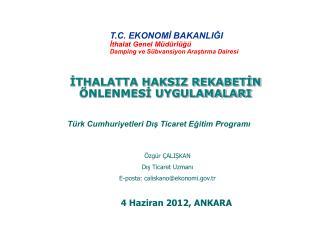 T.C. EKONOMİ BAKANLIĞI İthalat Genel Müdürlüğü Damping ve Sübvansiyon Araştırma Dairesi