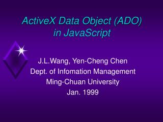 ActiveX Data Object (ADO) in JavaScript