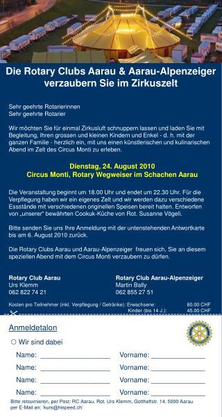 Die Rotary Clubs Aarau & Aarau-Alpenzeiger verzaubern Sie im Zirkuszelt