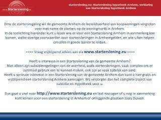 Wie kan mij helpen bij een starterslening in Arnhem?
