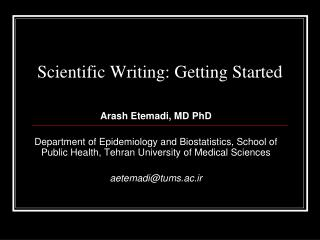Scientific Writing: Getting Started