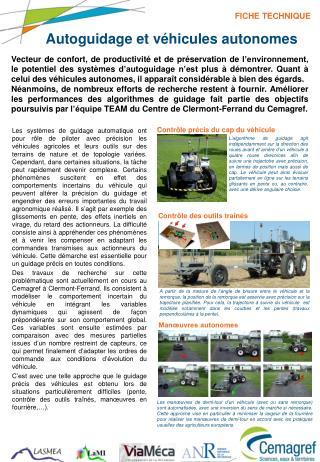Autoguidage et véhicules autonomes