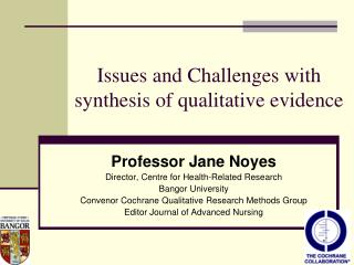 Issues and Challenges with synthesis of qualitative evidence