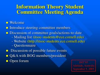 Information Theory Student Committee Meeting Agenda