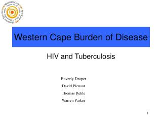 Western Cape Burden of Disease
