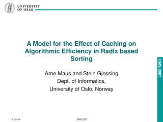 A Model for the Effect of Caching on Algorithmic Efficiency in Radix based Sorting