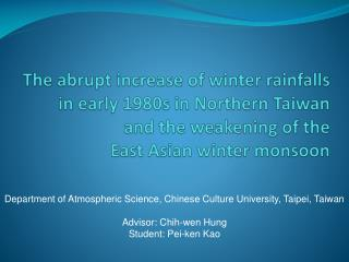 Department of Atmospheric Science, Chinese Culture University, Taipei, Taiwan