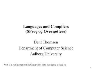 Languages and Compilers (SProg og Oversættere)