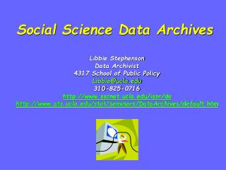 Social Science Data Archives