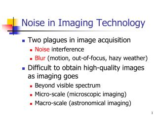 Noise in Imaging Technology