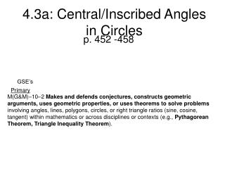 4.3a: Central/Inscribed Angles in Circles