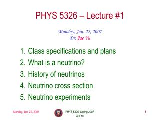 PHYS 5326 – Lecture #1