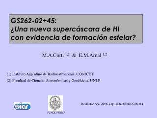 M.A.Corti  1,2   &  E.M.Arnal  1,2