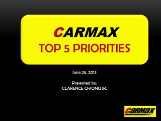 C ARMAX TOP 5 PRIORITIES