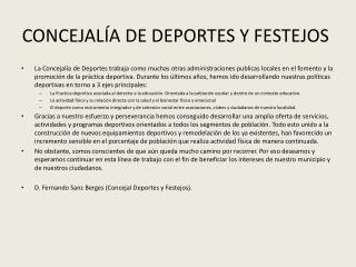 CONCEJALÍA DE DEPORTES Y FESTEJOS