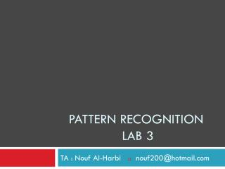 Pattern recognition  lab 3