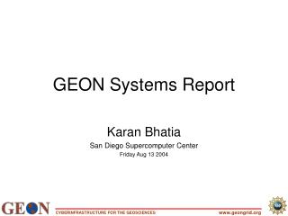 GEON Systems Report