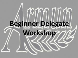 Beginner Delegate  Workshop