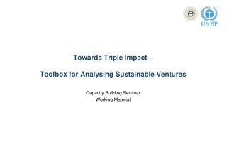 Towards Triple Impact – Toolbox for Analysing Sustainable Ventures