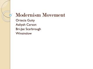 Modernism Movement