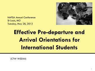 Effective Pre-departure  and Arrival Orientations for International Students