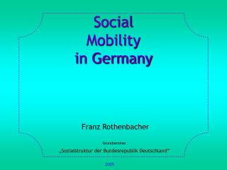 Social Mobility  in Germany