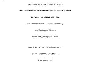 Association for Studies in Public Economics ANTI-MODERN AND MODERN EFFECTS OF SOCIAL CAPITAL
