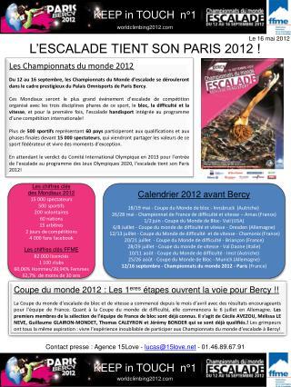 L'ESCALADE TIENT SON PARIS 2012 !