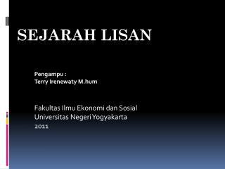 SEJARAH LISAN