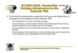 IST-2001-33052 - WonderWeb Ontology Infrastructure for the Semantic Web