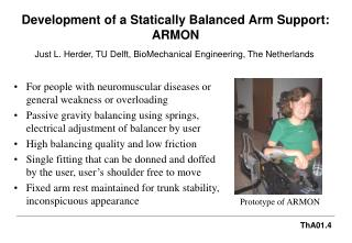 Development of a Statically Balanced Arm Support: ARMON