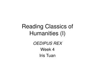 Reading Classics of Humanities (I)