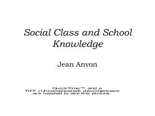 Social Class and School Knowledge