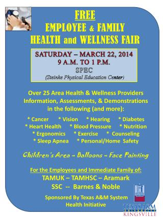FREE EMPLOYEE  &  FAMILY  HEALTH  and  WELLNESS FAIR