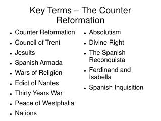 Key Terms – The Counter Reformation