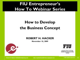 FIU Entrepreneur's  How To Webinar Series
