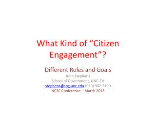"What Kind of ""Citizen Engagement""?"