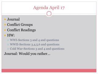 Agenda April 17