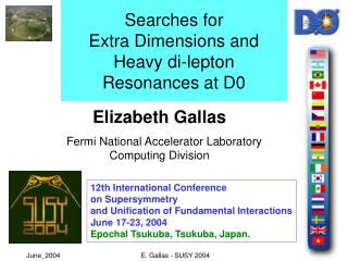 Searches for  Extra Dimensions and  Heavy di-lepton Resonances at D0