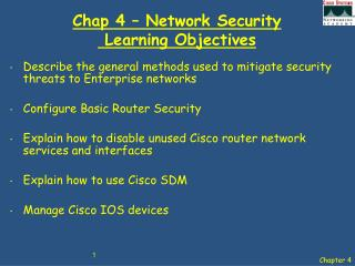 Chap 4 – Network Security   Learning Objectives