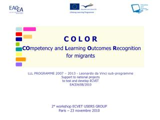 C O L O R CO mpetency and  L earning  O utcomes  R ecognition  for migrants
